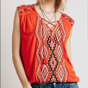 Free People Embroidered Bohemian Aztec Tank Top